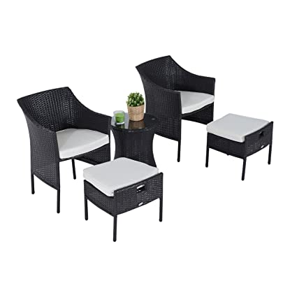 Outsunny Rattan Wicker Outdoor Patio Furniture Leisure Set w/ Nesting Ottomans - Dark Coffee  sc 1 st  Amazon.com & Amazon.com : Outsunny Rattan Wicker Outdoor Patio Furniture Leisure ...