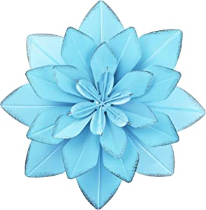 Metal Flowers Wall Decor Outdoor Art Blue Layered Flower for Bedroom Living Room Patio Decoration 10.4