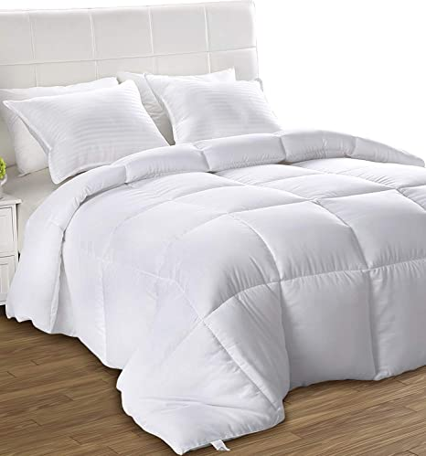 Utopia Bedding All Season Comforter Ultra Soft Down Alternative Comforter Plush Siliconized Fiberfill Duvet Insert Box Stitched Queen White