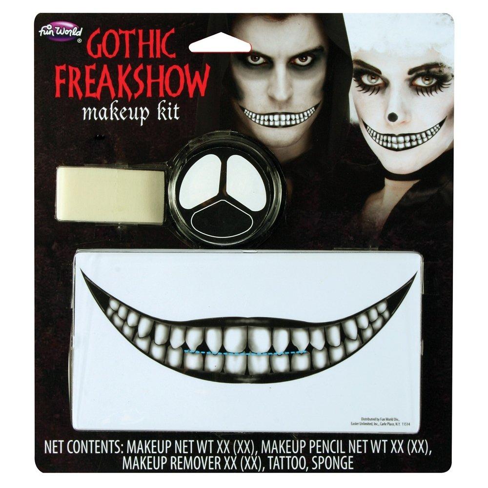 Fun World Freakshow Clown Gothic Smile 5pc Makeup Kit .3 oz/.02oz/18 fl oz