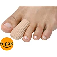 NatraCure Ribbed Fabric Gel Toe & Finger Caps/Protectors 6 Pack - for Blisters, Calluses, Corns, Ingrown Nails