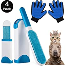 AidSci Guante de Mascotas + Kit de Cepillo de Limpieza de Mascotas, Mascotas Perros Gatos Manopla Masaje para Mascotas Retiro del Pelo, Un par de ...