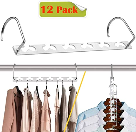 2019 Updated Hook Design Space Saver Cloth Hangers Pack of 12 Space Saving Hangers 10.5 Magic Hangers Closet Wardrobe Clothing Metal Hanger Oragnizers Heavy Chrome Hangers