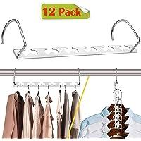 CBTONE 12 Pack Closet Space Saving Hangers, Multi-Purpose Metal Magic Hangers Cascading Hanger Updated Hook Design Metal Hangers for Organizing Wardrobe Clothing Hanger