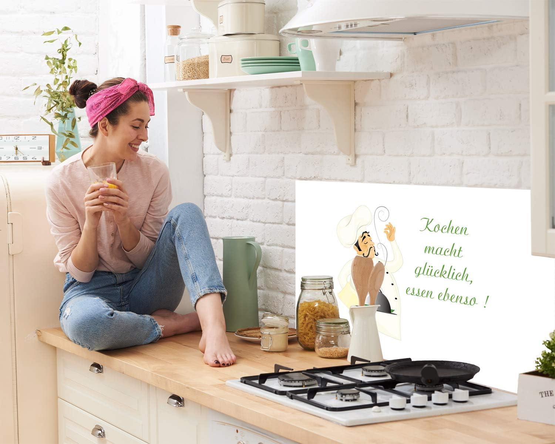Edler Kunstdruck hinter Glas Bild Motiv Koch mit Spruch Glasplatte K/üchenzeilen abdecken GRAZDesign K/üchenr/ückwand Glasbild Spritzschutz K/üche 60x40cm