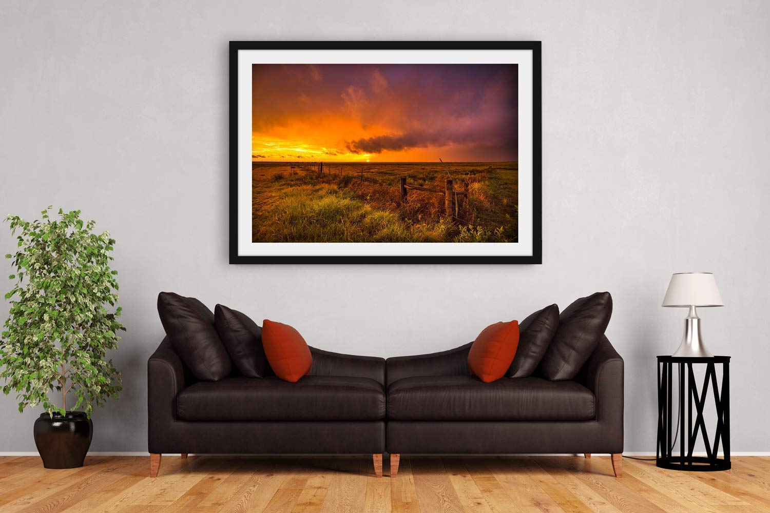 Landscape Photography Wall Art Print Picture of Sunset on Stormy Evening in Oklahoma Panhandle Western Sky Country Decor 5x7 to 40x60