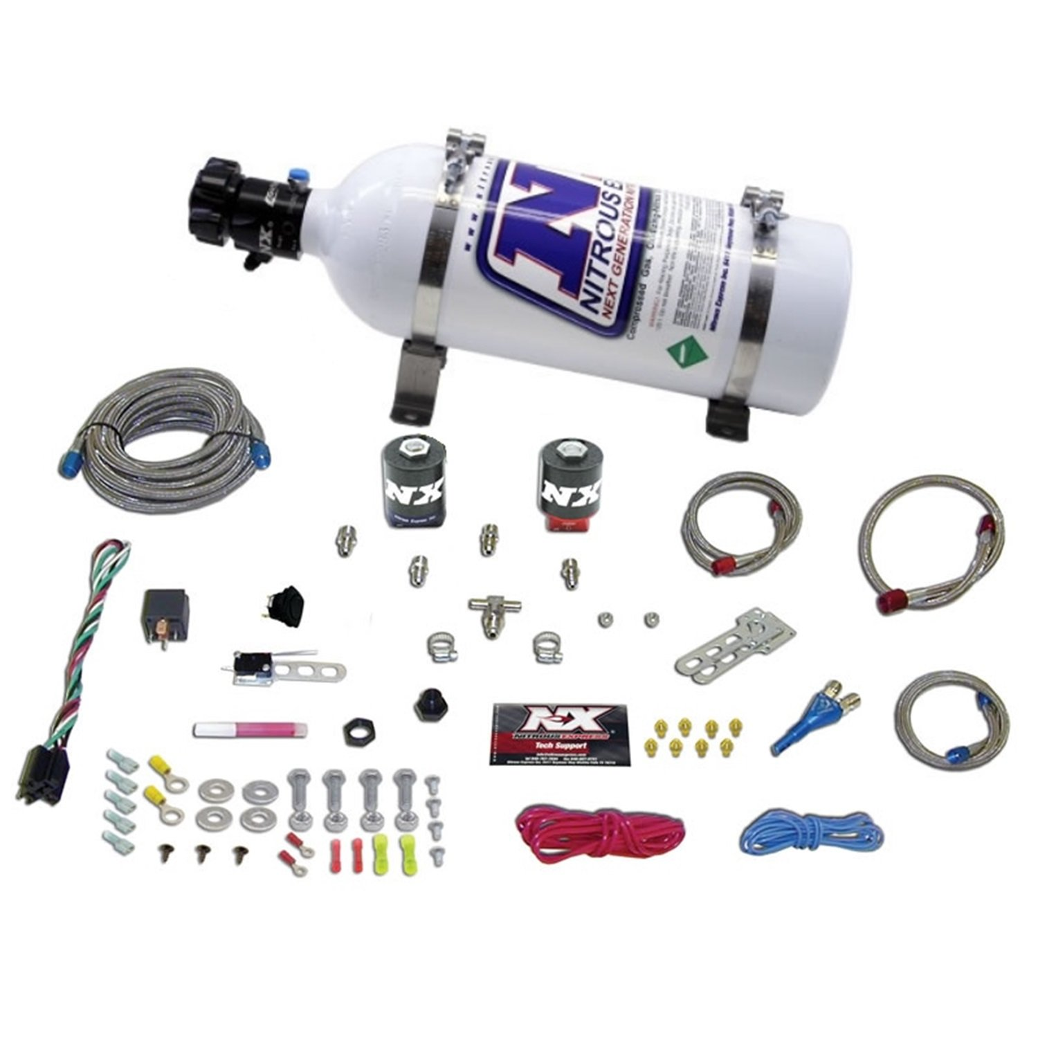 Nitrous Express 20915-05 35-150 HP Universal Single Nozzle System for EFI with 5 lbs. Bottle
