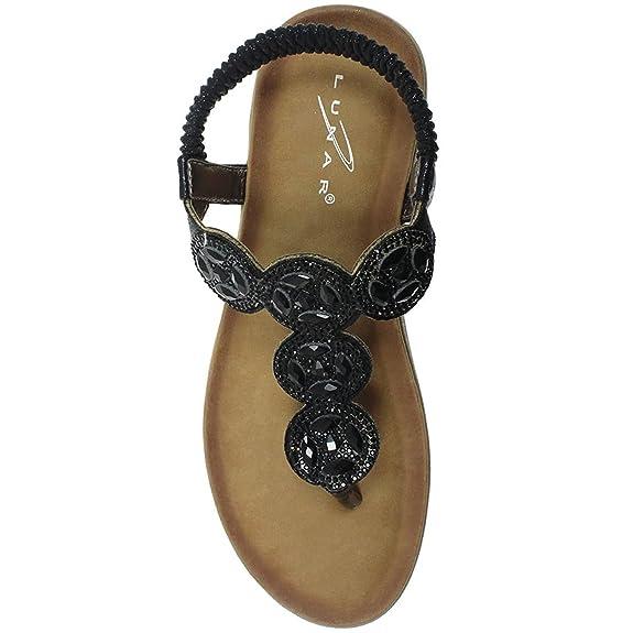 jlh795 Dulcie Damen diamant-zehensteg Elastisch Gepolstert Sandalen Schuhe - Silbern, 3 UK