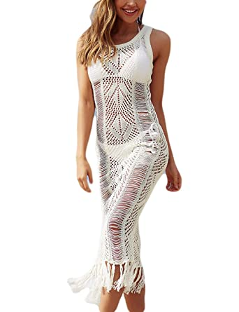 5007874ed5712 Bsubseach Women Beige See Through Sleeveless Knitted Swimwear Swimsuit  Cover Up Crochet Tassel Tank Beach Long