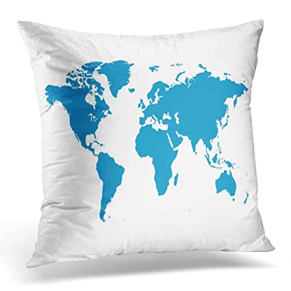 Amazon upoos throw pillow cover blank blue similar world map upoos throw pillow cover blank blue similar world map white best popular worldmap for annual reports gumiabroncs Image collections