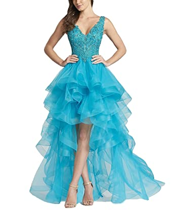 Olivias Womens Double V-Neck Prom Dresses Hi-Lo Pageant Party Dresses Ruffled 2018