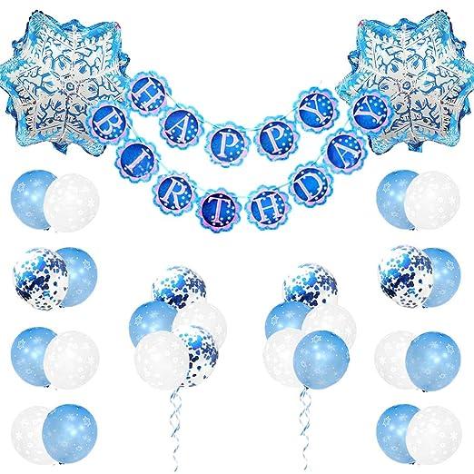 Decoraciones de cumpleaños congeladas para niñas con globos de copos de nieve y pancarta de feliz cumpleaños congelada para suministros para fiestas ...