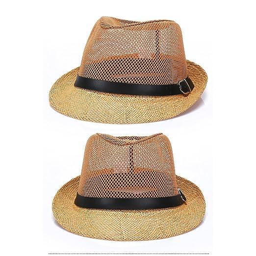 538751a7960 Raylans Mens Womens Summer Cool Mesh Fedora Hat Short Brim Sun Cap For Men  at Amazon Men s Clothing store