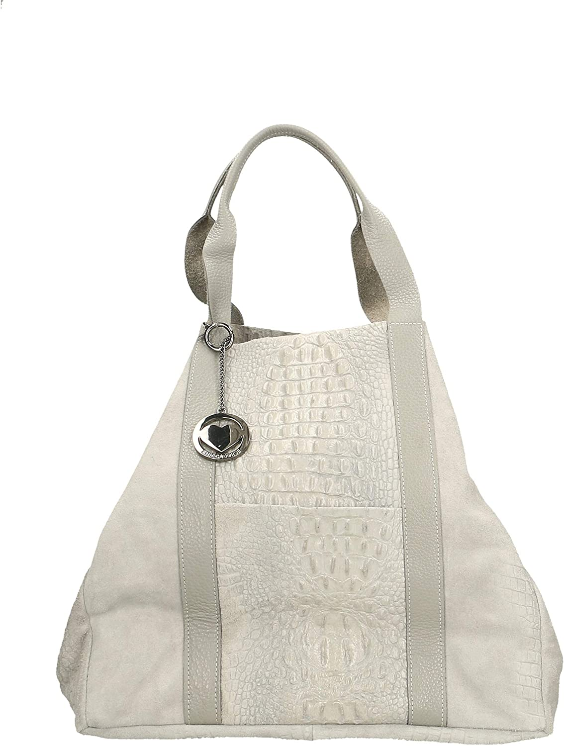 Chicca Borse Bolso en piel genuina made in Italy 63x36x21 cm Gris