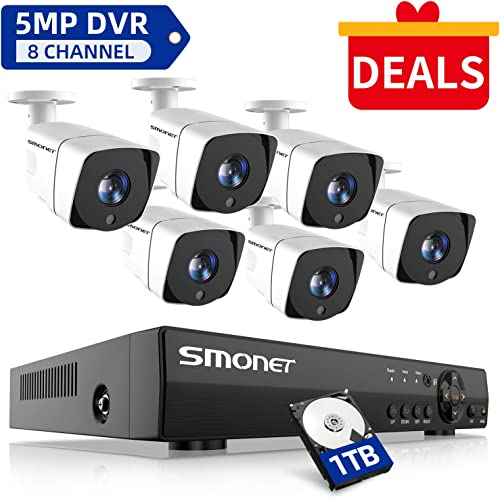 SMONET Security Camera System Outdoor,8 Channel FHD Home Security System 1TB Hard Drive ,6pcs Weatherproof Security Cameras,65ft Night Vision,P2P, Remote View,Free APP