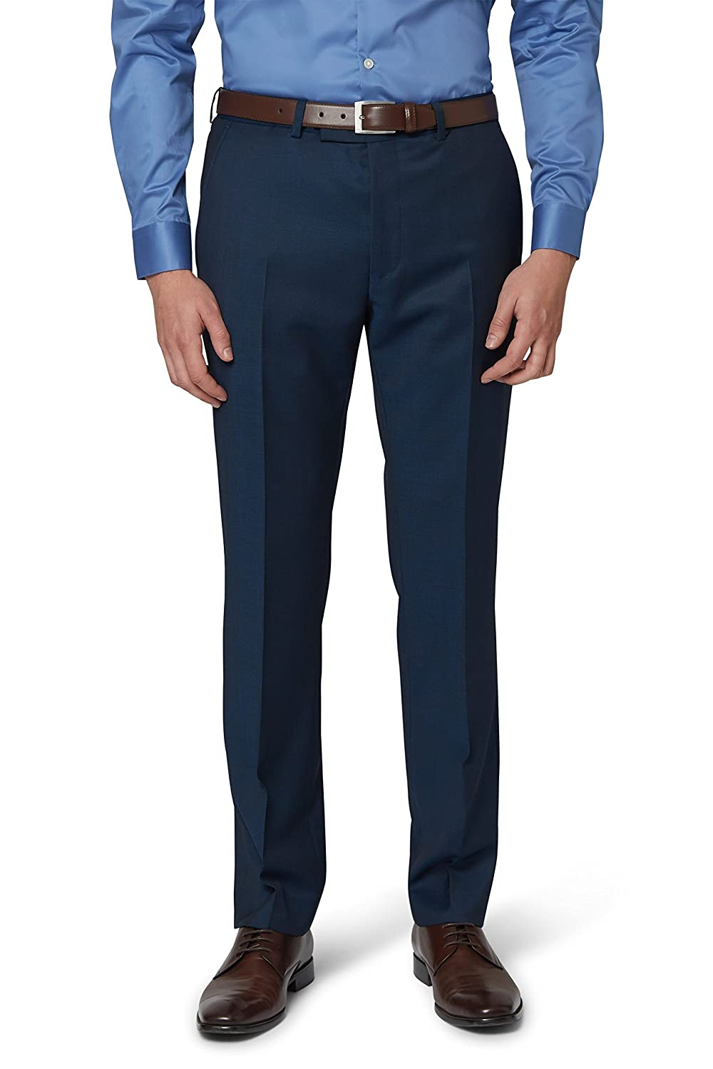 DKNY Men`s Slim Fit Teal Twill Suit Trousers
