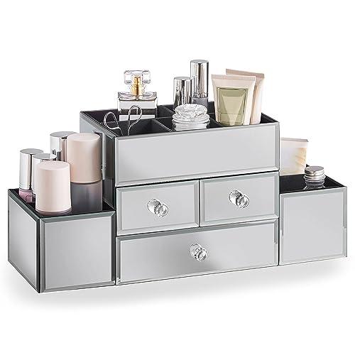 Beautify Joyero de Cristal con Espejos y Organizador de Maquillaje 3 Cajones, 9 Secciones de