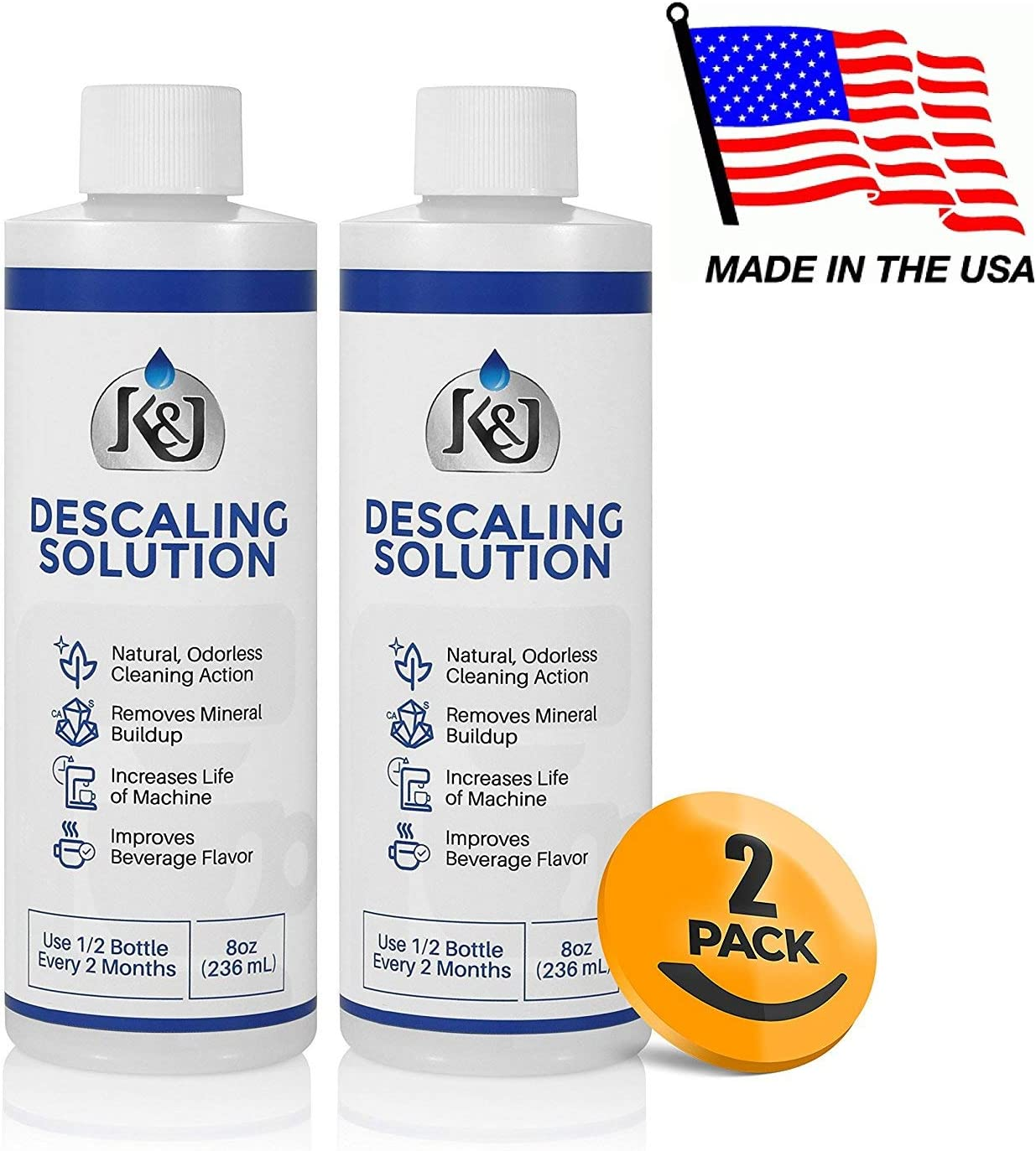 2-Pack Universal Descaling Solution - Descaler for Keurig, Cuisinart, Breville, Kitchenaid, Nespresso, Delonghi, Krups, and all other coffee brewers - by K&J 71DSI0EW-UL