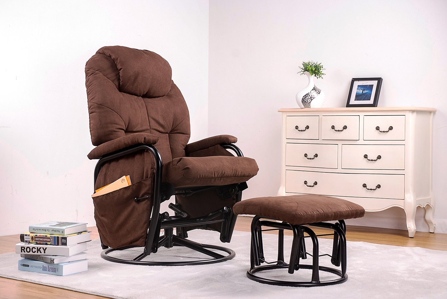 Amazon.com : Merax® Home Furniture Ergonomic Suede Fabric Swivel Glider  Recliner Rocking Chair and Ottoman Set Glider Rocker (Chocolate) : Baby - Amazon.com : Merax® Home Furniture Ergonomic Suede Fabric Swivel