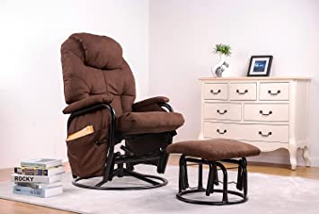Merax® Home Furniture Ergonomic Suede Fabric Swivel Glider Recliner Rocking  Chair And Ottoman Set Glider
