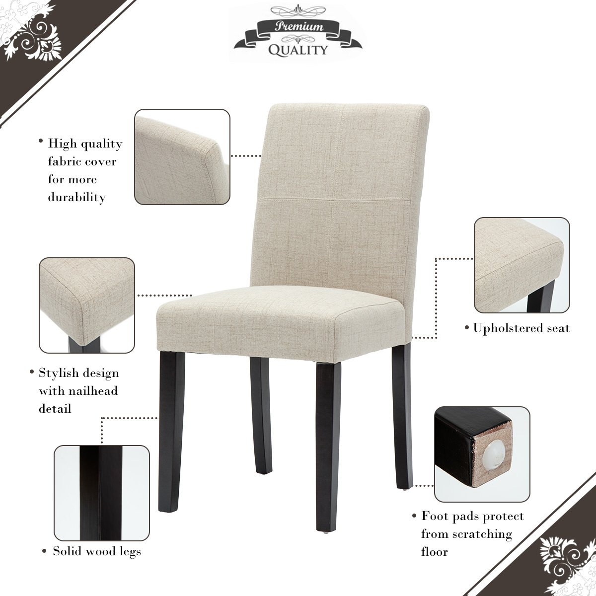 Amazon.com   Merax Classic Fabric Dining Chairs With Solid Wood Legs Set Of  2 (Beige)   Chairs