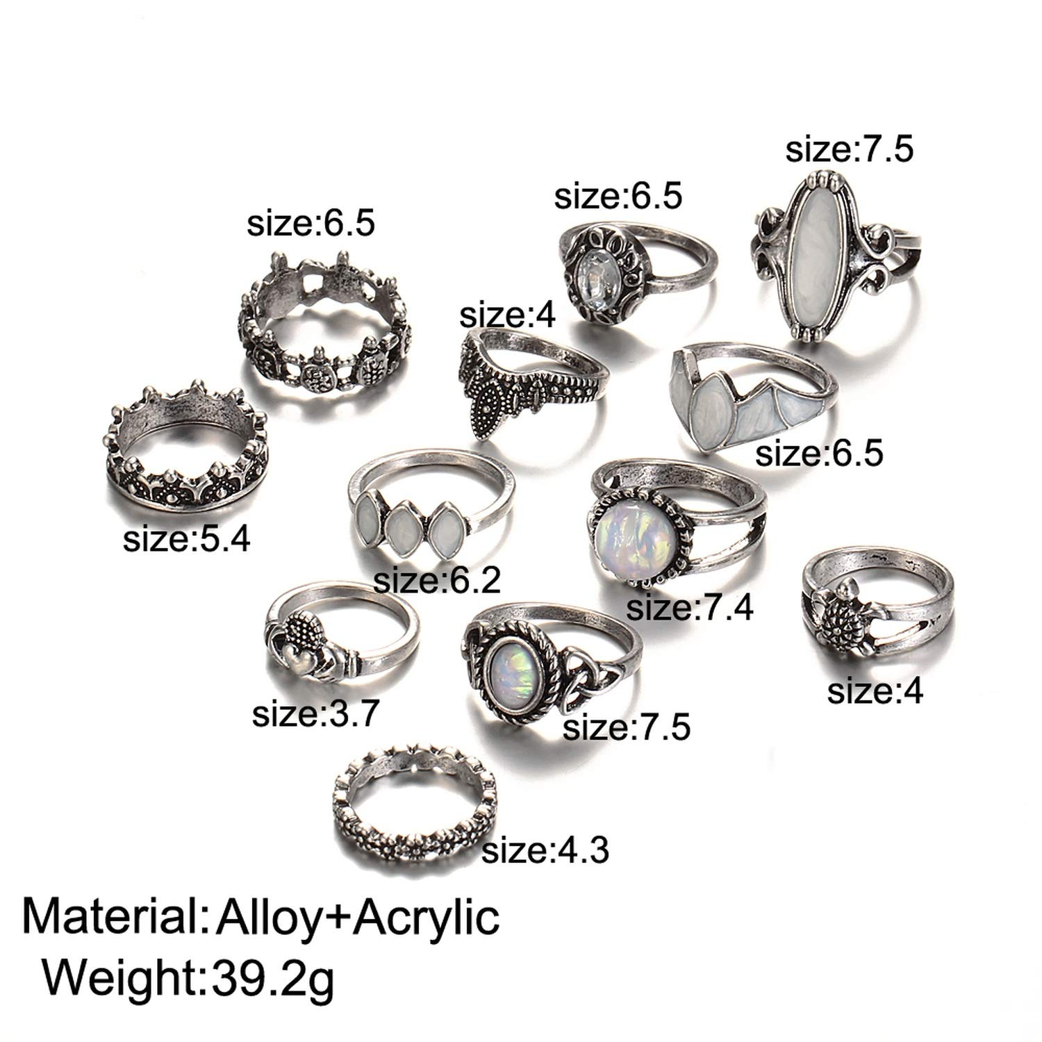 pretty-gentle52654 Vintage Natural Opal Stone Midi Ring Set for Women Heart Crown Knuckle Rings 12 PCS//Lot