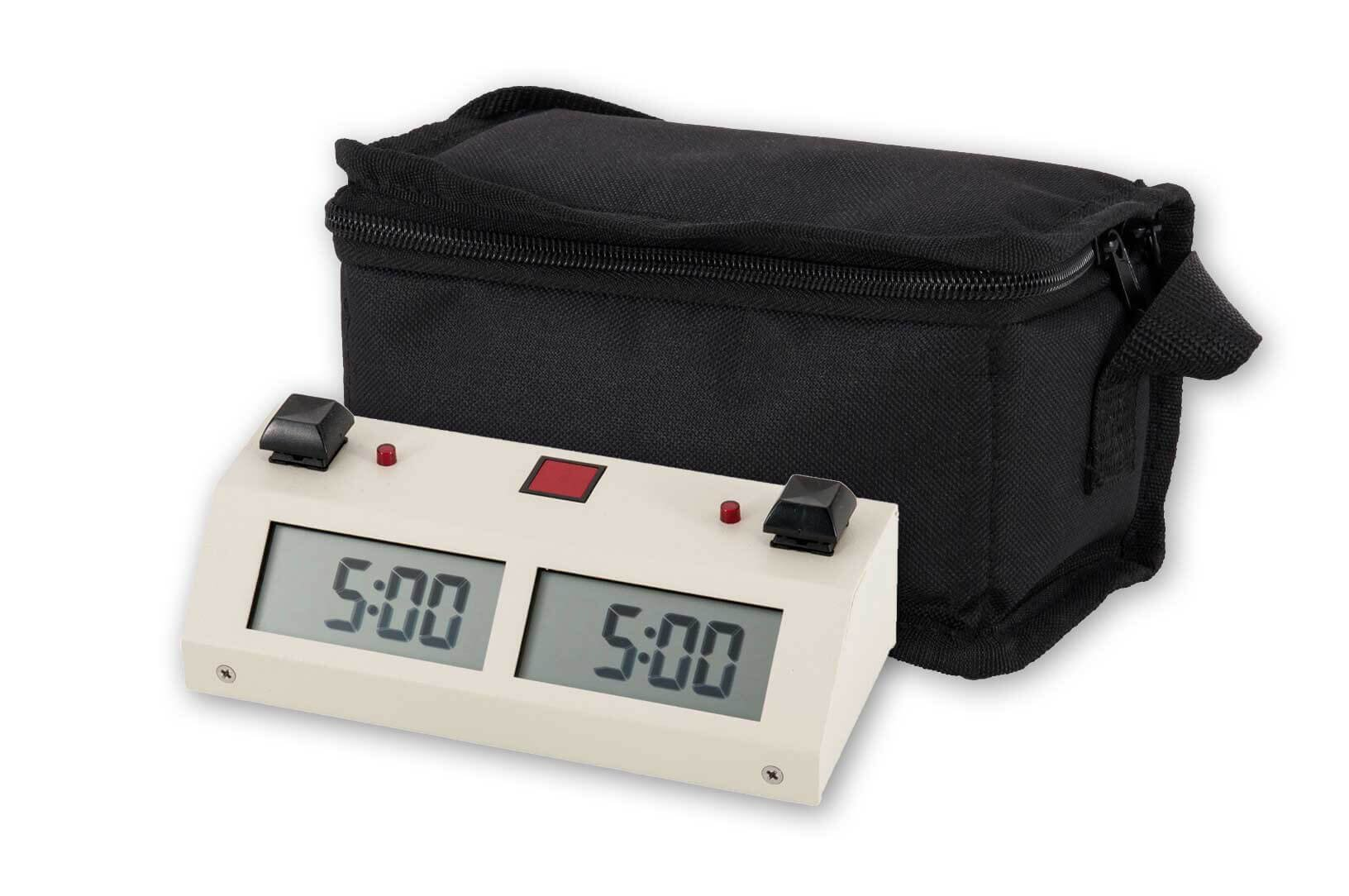 Chronos GX Digital Game Chess Clock - BUTTON - White with Carrying Bag - by US Chess Federation