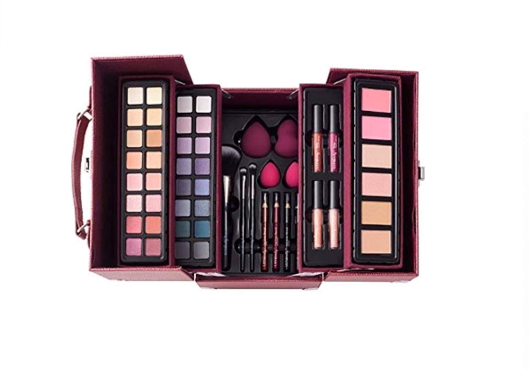 60f8eaf8adb Amazon.com : Ulta Beauty Glam and Glow 53 Piece Makeup Train Case Set Berry  Plum Color : Beauty