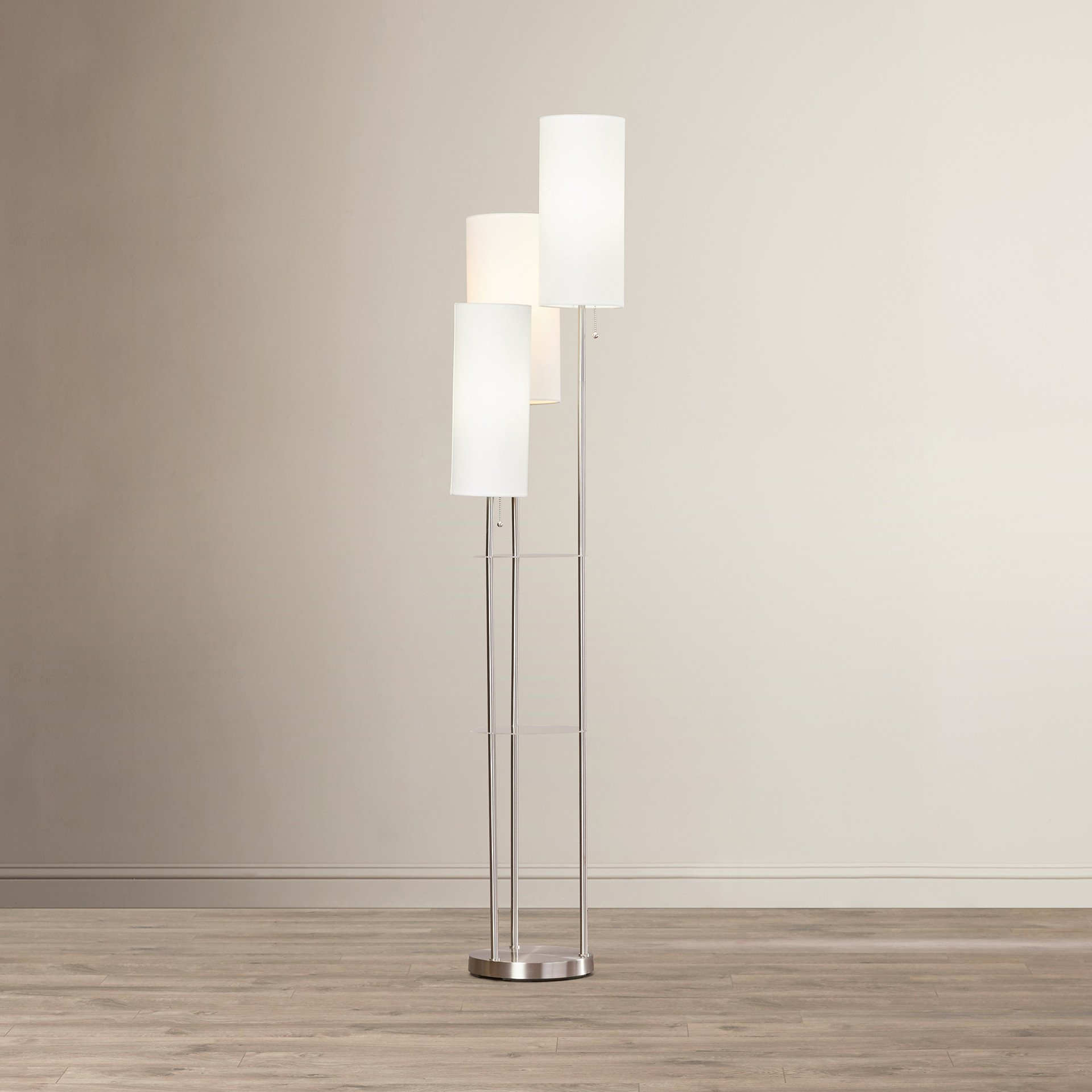 Unique European Style Floor Lamp with 2 Glass Shelves & 3 Oval Shades for Living Room - 67.75 Inch