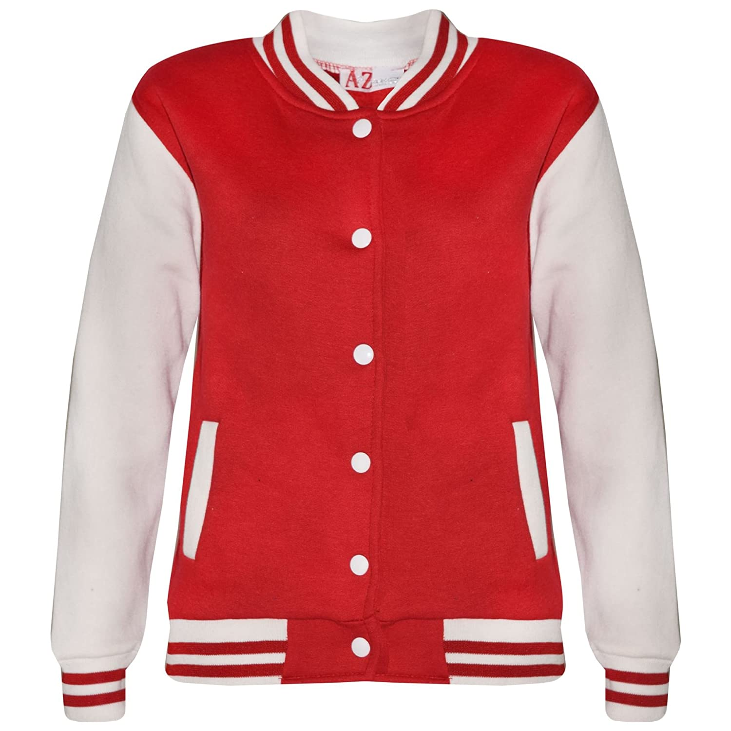 A2Z 4 Kids® Kids Girls Boys Baseball Jacket Varsity Style Fashion Plain Red School Jackets Top New Age 5 6 7 8 9 10 11 12 13 Years