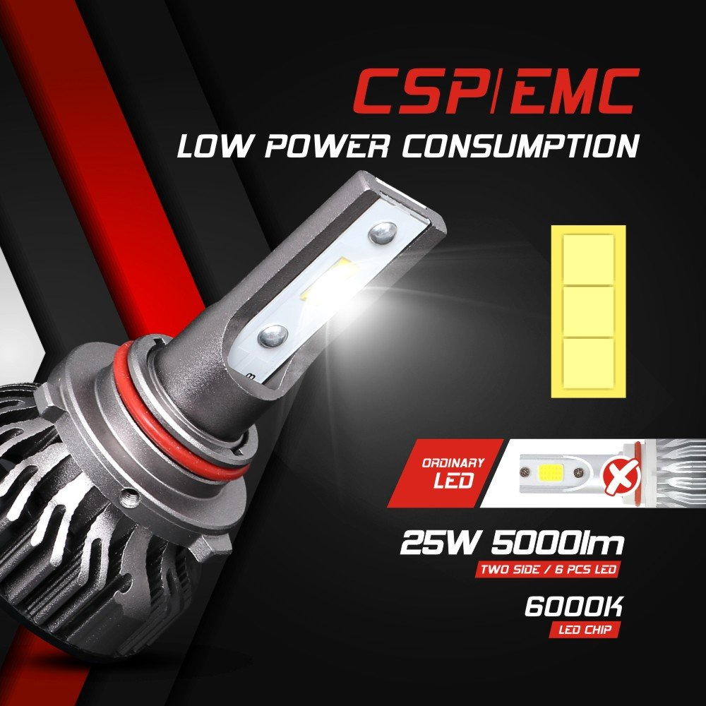 9003 Hi//Lo CSP Chips Conversion Kit 50W 6000K 10000 Lumens Extremely Bright Aukee H4 led headlight bulb