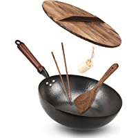 "Bielmeier Wok Pan 12.5"", Woks and Stir Fry Pans with lid, Carbon Steel Wok with Cookware Accessories, Wok with Lid Suits…"