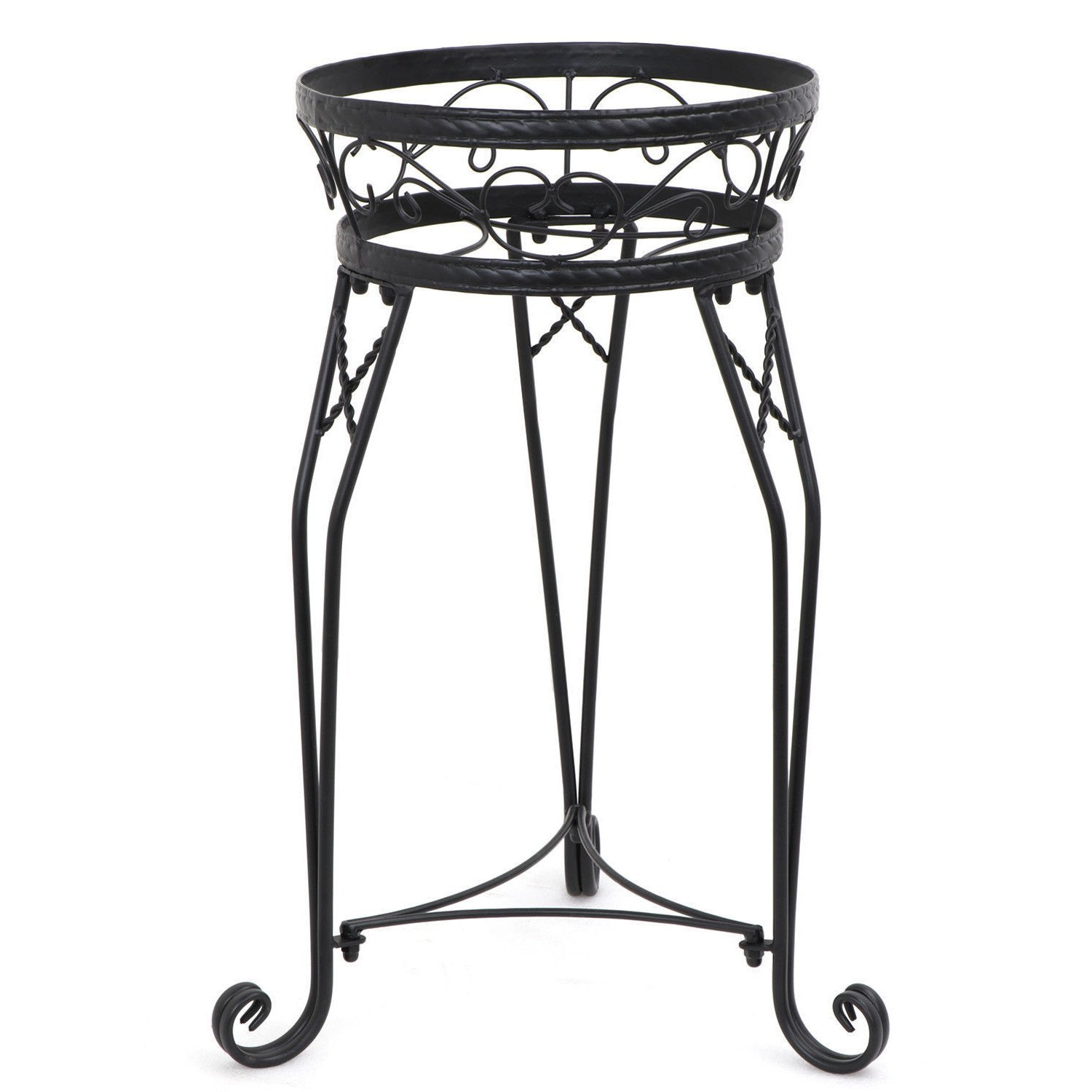 Lightweight Durable Steel 2 Tier Plant Stand Floor Standing Flower Pastoral Style with Spanner | 3 Legs Exquisite Scroll Work Perfect for Living Room Outdoor Indoor Specially Designed Prevent Scratch