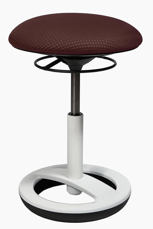 Topstar Sitness Bob, ergonomischer Sitzhocker, Arbeitshocker, Bürohocker mit mit mit Schwingeffekt, Sitzhöhenverstellung, Standfußring Alu, weiß lackiert, Stoffbezug, schwarz b9ec9b