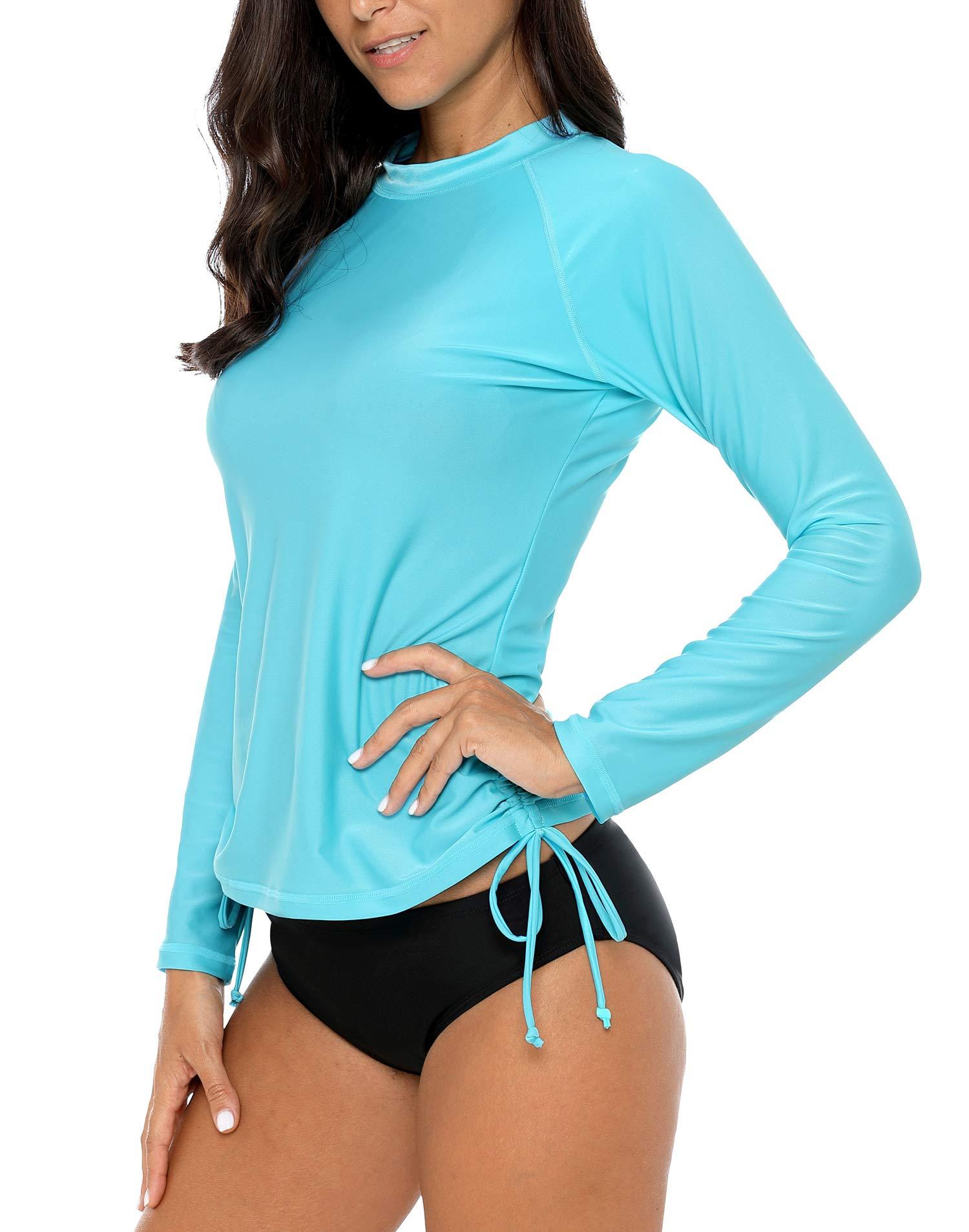 ALove Womens Drawstring Rash Guard Shirt UV Protection Swim Shirts Aqua M by ALove (Image #6)