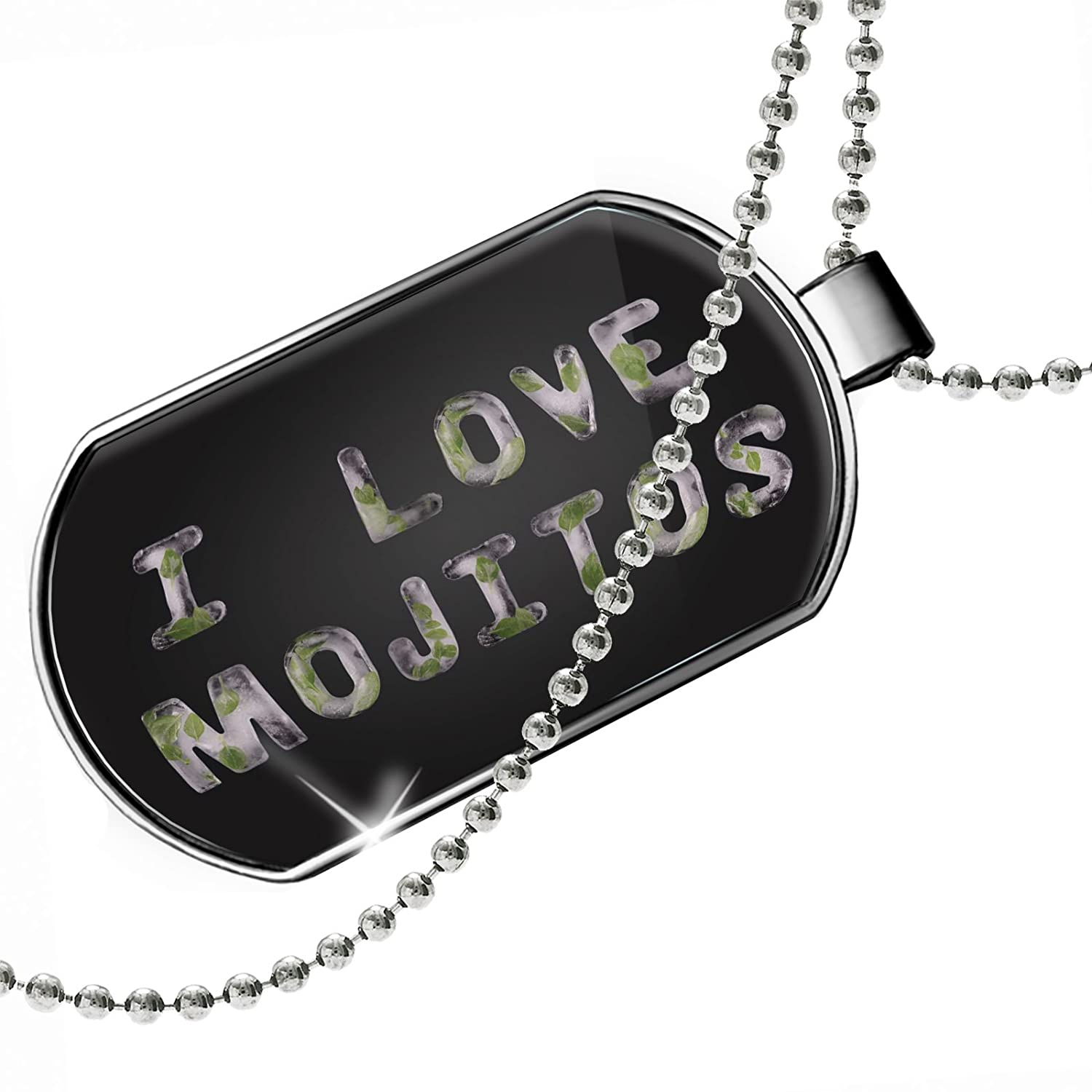 NEONBLOND Personalized Name Engraved I Love Mojitos Fresh Ice Tea Nature Dogtag Necklace