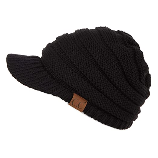 Hatsandscarf CC Exclusives Women s Ribbed Knit Hat with Brim (YJ-131) (Black 537dfee3812