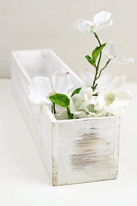 Color Blanco 4 X 20 Planter Cajas Madera Caja Rectangular