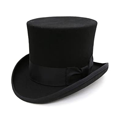 a23f1aa176e98a Ferrecci Classic 100% Wool Top Hat with Full Satin Lining at Amazon ...