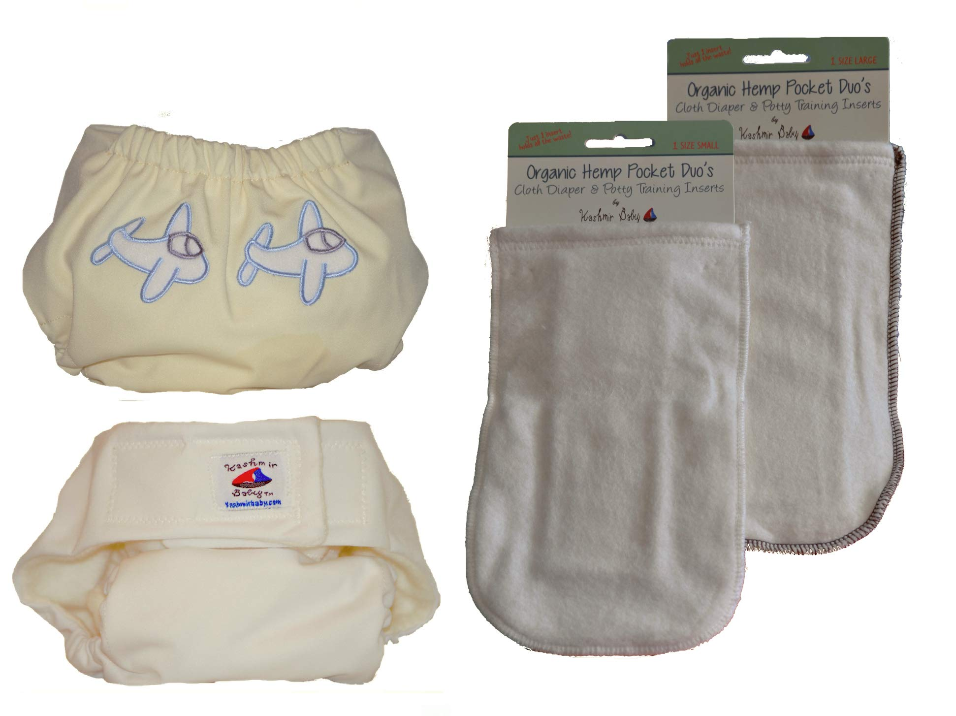 Kashmir Baby 2 Hemp/Organic One Size Diapers, 2 Hemp Inserts (Captain) by Kashmir Baby