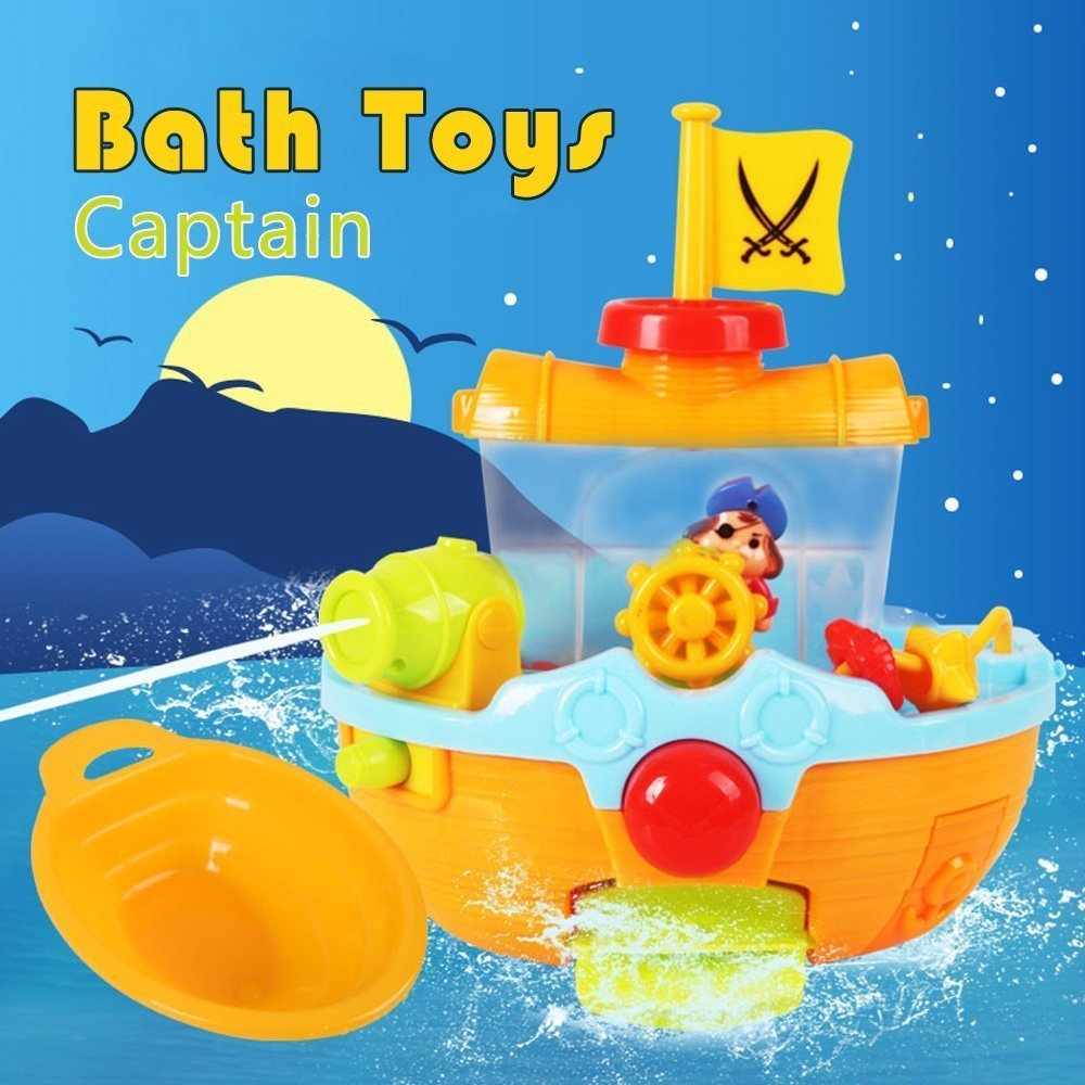 Beby Bath Time Toys Pirate Ship For Toddlers Kids with Water Cannon ...