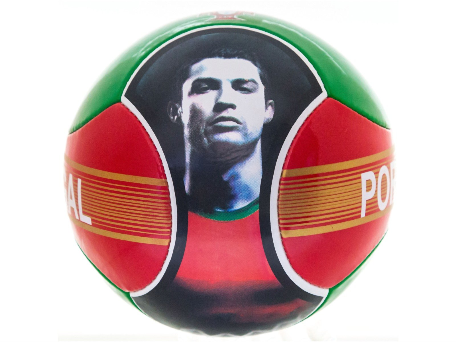 Soccer Ball Cristiano Ronaldo CR7 Portugal 6 Panels Red Green Official Size 5