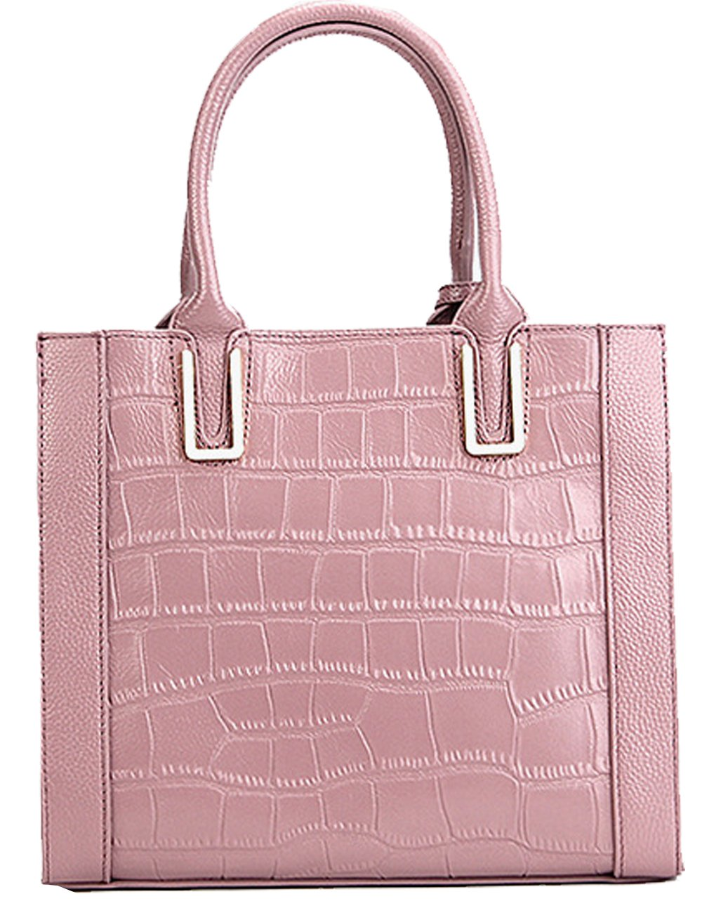 Menschwear Womens Genuine Leather Top Handle Satchel Bag Pink by Menschwear (Image #4)