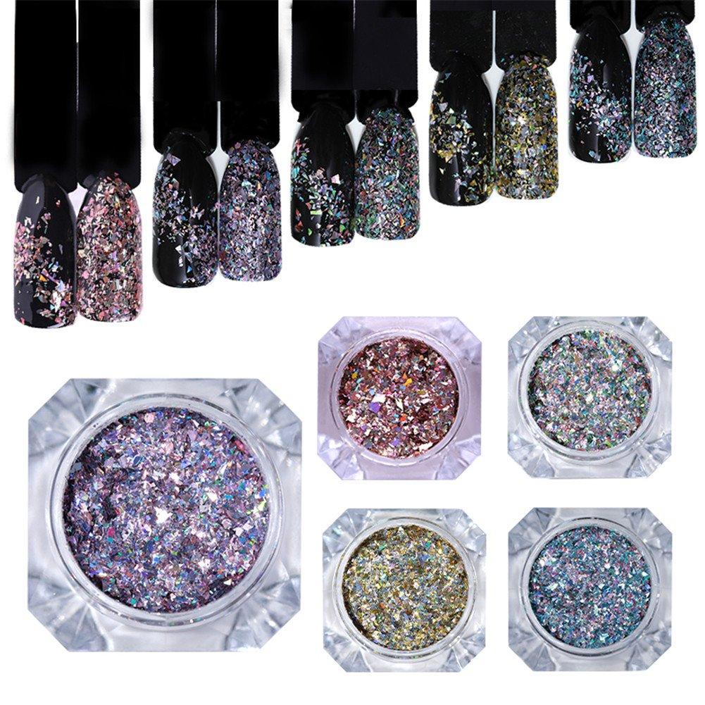 BORN PRETTY Holo Nail Glitter Holographic Flakes Sequins Paillette Nail Art Decoration 5 Colors Set