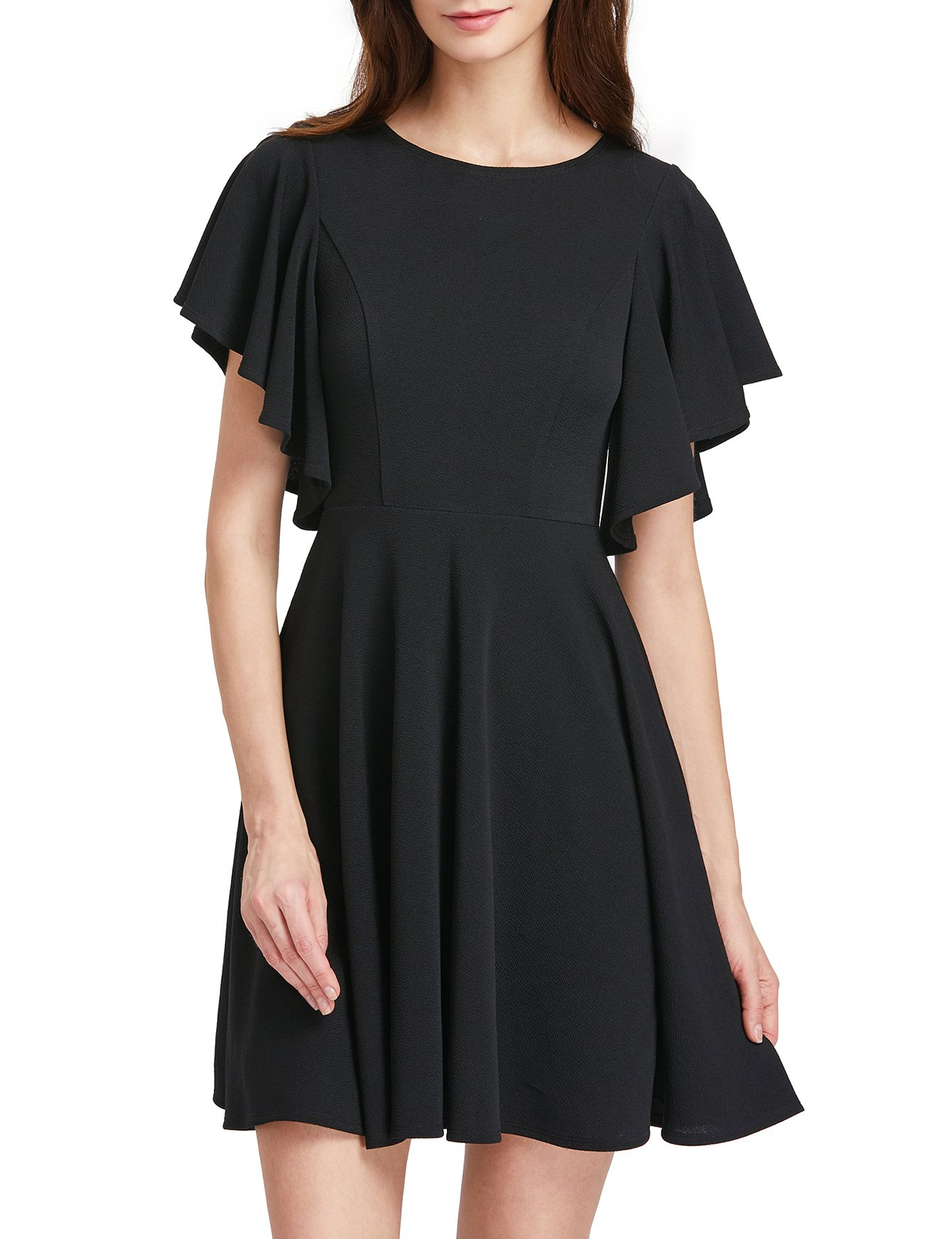ROMWE Women's Stretchy A Line Swing Flared Skater Cocktail Party Dress Black L by Romwe (Image #5)