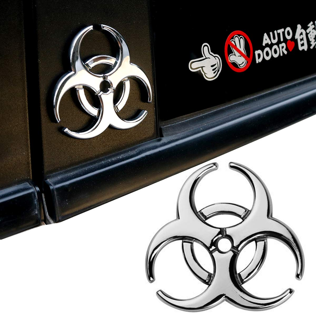 Yspring resident evil strain 3d metal decals multicolor electroplated zinc alloy umbrella corporation biohazard symbol tail side marker car