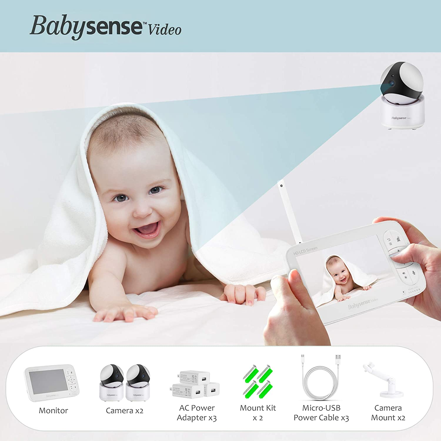 up to 4 Babysense HD 720P Video Baby Monitor with Large 5 Inch Display and Two PTZ Cameras Zoom Multi HD Cameras Two Way Talk Back Audio Long Range Night Vision Remote Pan Zoom Tilt