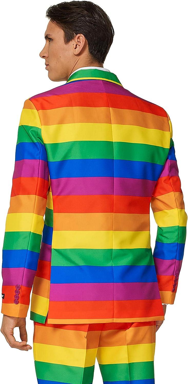 Completo: Giacca Rainbow 2XL Suitmeister Pantaloni e Cravatta Abito di Halloween per Uomo
