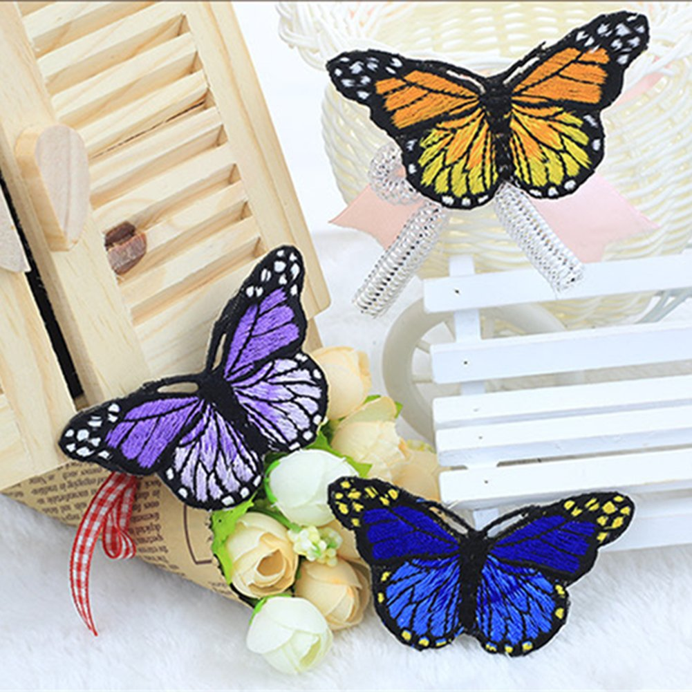 Taloyer 10pcs Lovely Embroidery Butterfly Patches Sew On Embroidered Fabric Appliques DIY Clothing Accessories Craft