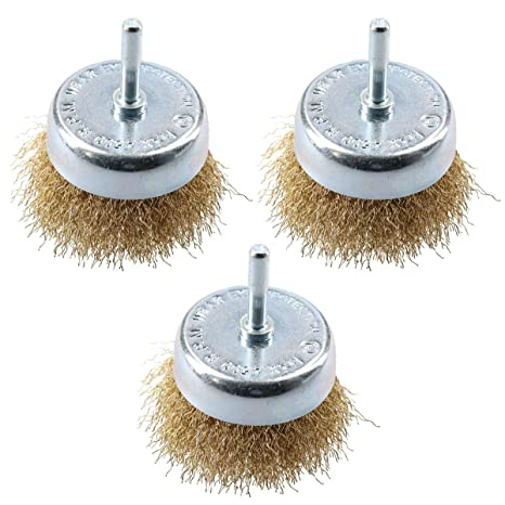 3 Pcs 6*25mm Rotary Tool Wire Wheel Cup Brush Drill Set Rust Paint Remover Tools